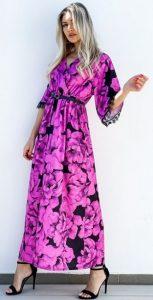 μωβ κοντομάνικο φόρεμα με φαρδιά μανίκια