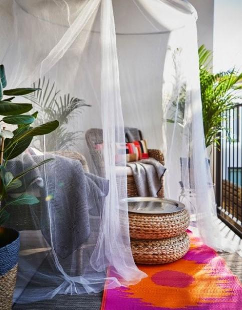 μπαλκόνι bamboo έπιπλα κουνουπιέρα