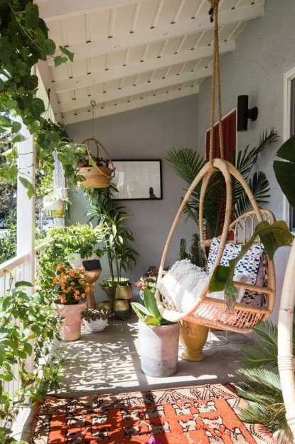 μπαλκόνι φυτά κούνια διακόσμησης μπαλκονιού