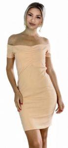 μπεζ ελαστικό φόρεμα με έξω τους ώμους