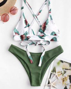 μπικίνι πράσινο σλιπ άσπρο σουτιέν πουλιά
