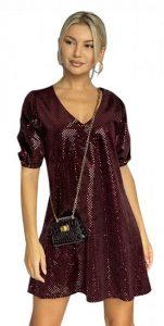 μπορντό mini φόρεμα με φουσκωτά μανίκια