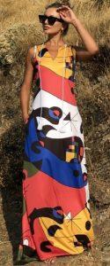 πολύχρωμο αμάνικο maxi φόρεμα