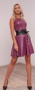 ροζ δερμάτινο φόρεμα για βάφτιση