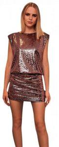 ροζ χρυσό μεταλιζέ φόρεμα