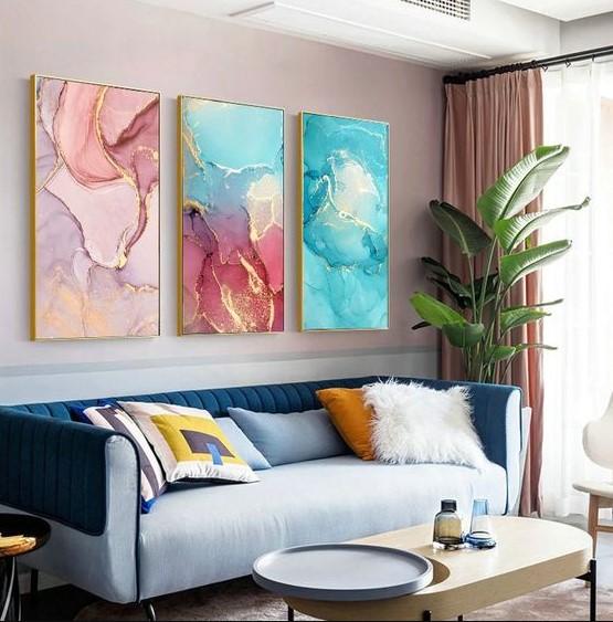 σαλόνι χρωματιστοί πίνακες