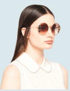 στρογγυλά γυαλιά ηλίου miu miu