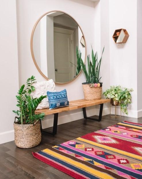 στρογγυλός καθρέπτης είσοδος φυτά
