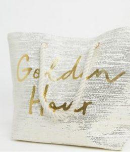 τσάντα θαλάσσης με χρυσά γράμματα