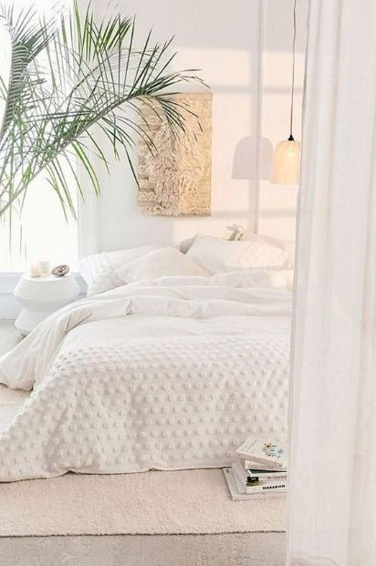 άσπρο υπνοδωμάτιο φυτό χρώματα κρεβατοκάμαρα 2020