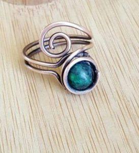 δαχτυλίδι σύρμα με πέτρα