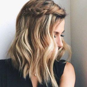 καστανόξανθο καρέ μαλλί πλεξούδα