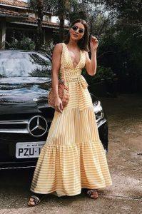 κίτρινο άσπρο μακρύ φόρεμα