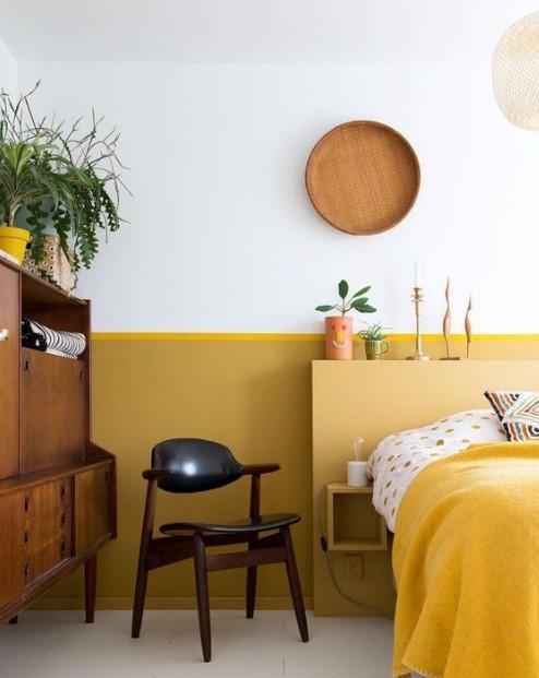 κίτρινο υπνοδωμάτιο ξύλινα έπιπλα