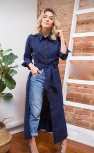 μακρύ φόρεμα μπλε τζιν παντελόνι