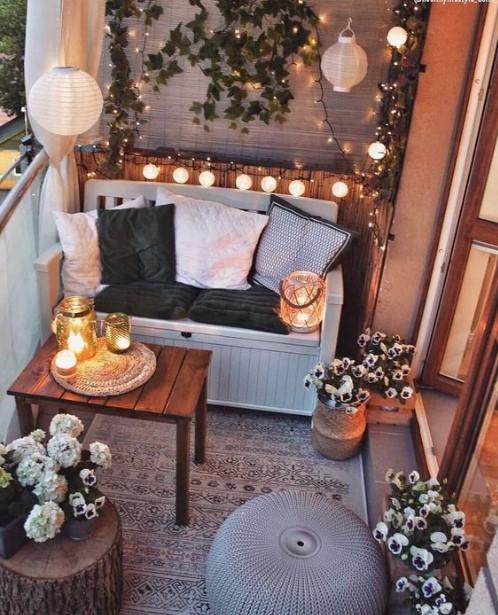 μπαλκόνι φωτάκια κεριά