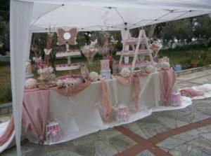 ροζ απαλο λευκο βαφτιση πεταλουδες