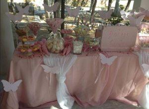 ροζ λευκη διακοσμηση βαφτισης πεταλουδες