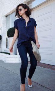 σκούρο μπλε τζιν μπλε πουκάμισο συνδυασμός μπλε ρούχων