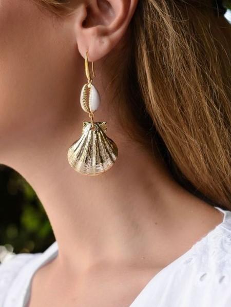 σκουλαρίκι με κοχύλι χρυσό