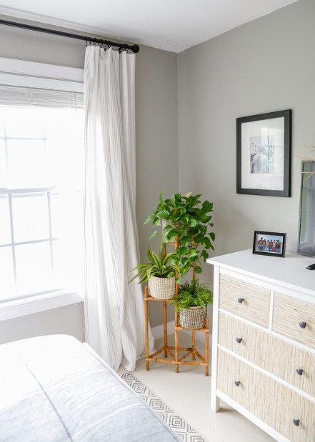 υπνοδωμάτιο μακριά κουρτίνα φυτά