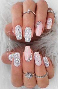 νυφικα νυχια ροζ ασημι