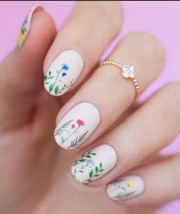άσπρα νύχια φλοράλ