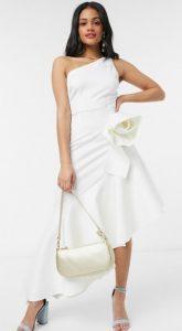 ασύμμετρο μίντι φόρεμα γάμου άσπρο