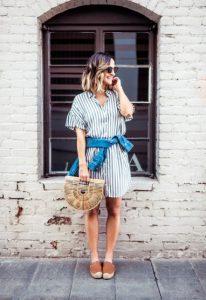 εσπαντρίγιες ριγέ φόρεμα φλατ παπούτσια καλοκαίρι
