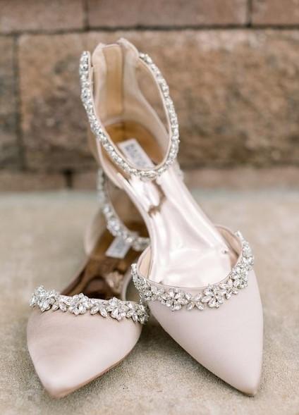 φλατ νυφικά παπούτσια
