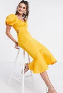 κίτρινο φόρεμα με φουσκωτά μανίκια