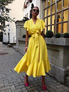 κίτρινο κρουαζέ φόρεμα γόβες καλοκαιρινά ρούχα αδύνατη