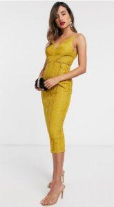 κίτρινο Midi φόρεμα