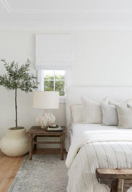 λευκό υπνοδωμάτιο πορτατιφ ελιά φωτιστικά κρεβατοκάμαρα