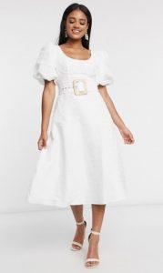 λευκό midi φόρεμα γάμου