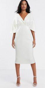 λευκό midi φόρεμα για γάμο