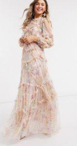 μακρύ νυφικό floral φόρεμα