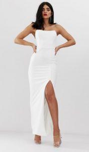 maxi στενό λευκό φόρεμα