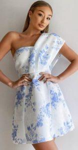 mini άσπρο μπλε φόρεμα