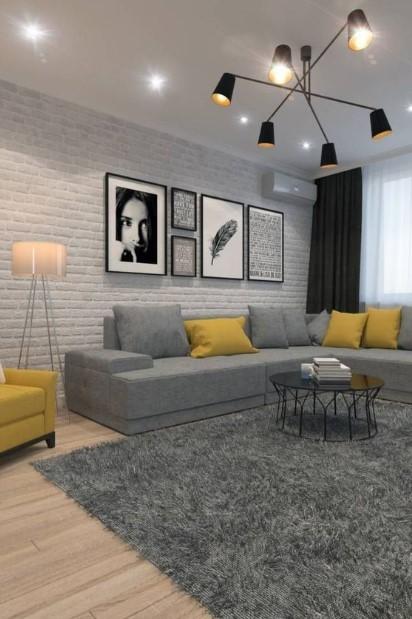 μοντέρνο σπίτι γκρι κίτρινο