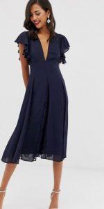 μπλε midi φόρεμα