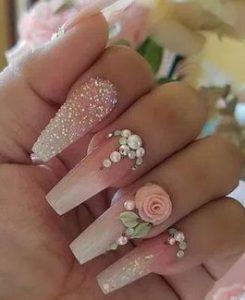 νυχια ροζ ζαχαρι νυφικα
