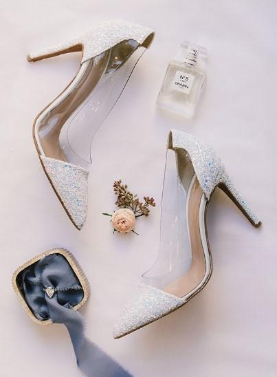 νυφικό παπούτσι με διαφάνεια