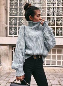 πλεκτό γκρι πουλόβερ