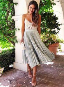 πλισέ φούστα μπλούζα από δαντέλα φούστες καλοκαίρι