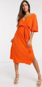 πορτοκαλί φόρεμα midi