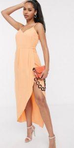 πορτοκαλί midi φόρεμα