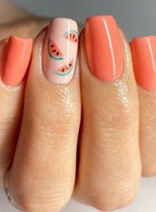 πορτοκαλί νύχια καρπούζι