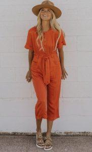 πορτοκαλί ολόσωμη φόρμα καπέλο