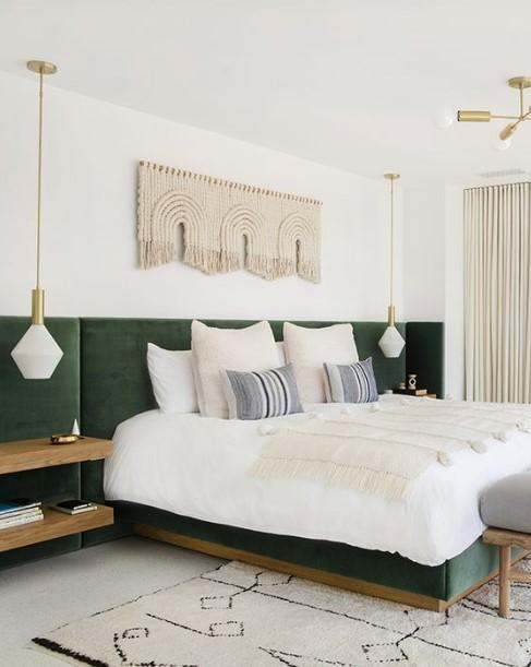 πράσινο κρεβάτι κρεμαστά φωτιστικά